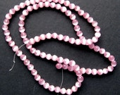 4mm Pale Pink Faceted Catseye beads