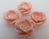 PINK ROSE - 4pcs resin cabochon
