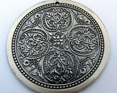 MEDALLION - oversized antiqued silver plated pendant