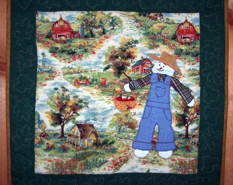 October Farmer Snowman quilted wall hanging