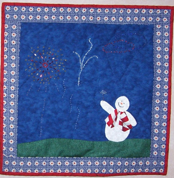Quilted wall hanging American snowman with sparkler