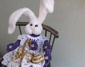 Primitive, Bunny Doll,  Basket,  Faux Cinnamon Rolls soft sculpture bunny doll