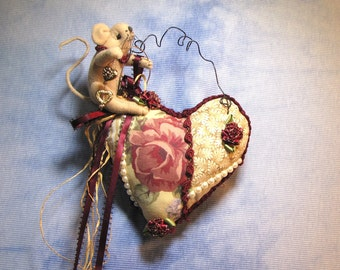 Mouse, Heart, Roses, Love, Pin Cushion, Primitive Pin Cushion, Primitive Valentine, Mouse Doll