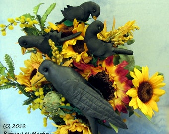 PDF Pattern, Primitive Pattern, Crow, Crow Doll, Primitive Crow,  Plant Poke