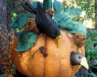 Primitive Pattern, PDF Pattern, Pumpkin, Crows, Primitive Crows, Sewing Pattern, Crow Doll