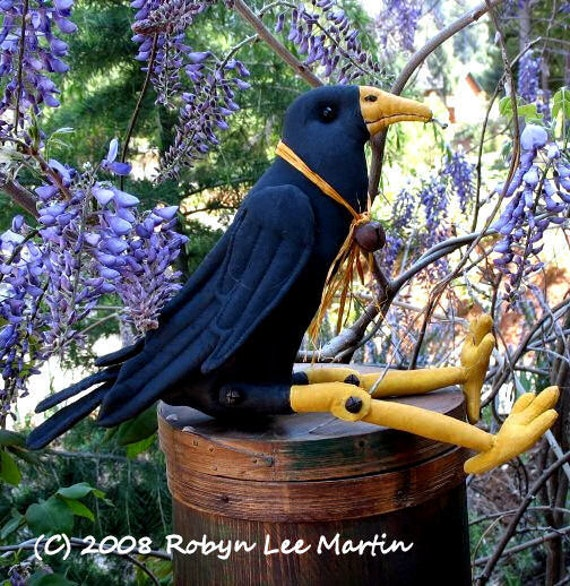 Primitive PDF Pattern, Crow, Primitive Doll,  Blackbird ,Sewing Pattern, Primitive Crow
