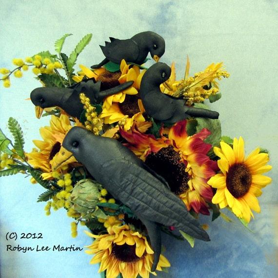 PDF Pattern, Primitive Pattern, Crow, Crow Doll, Primitive Crow,  Plant Poke