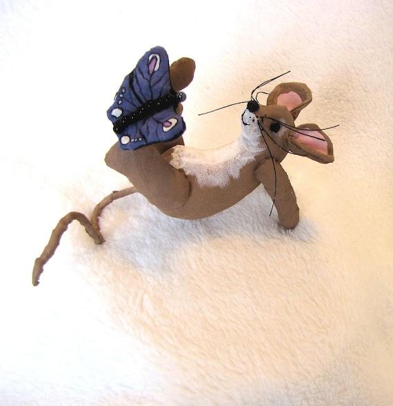 Mouse Butterfly Soft Sculpture Primitive Doll