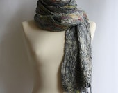 SALE, Huge Metalic Scarf, Wrap, in merino, cotton, Reflections
