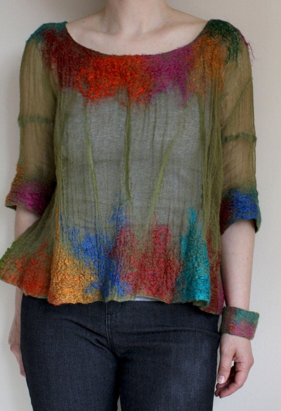 Eden,  Shear Top in merino, cotton, silk, OOAK