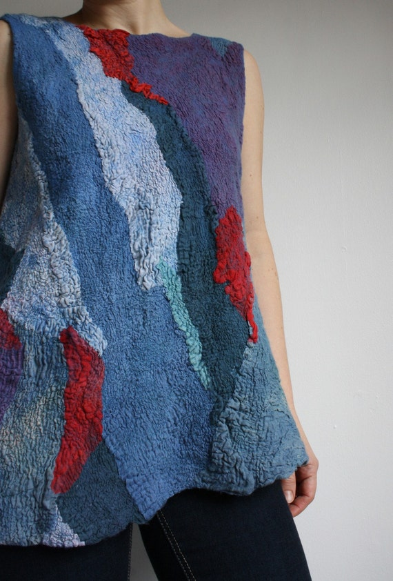 SALE, Nunofelted Tunic, Felt,Felted, Occasional wear, From Rugs to Richies No 4,  merino,cotton, silk tunic, OOAK, size S,M