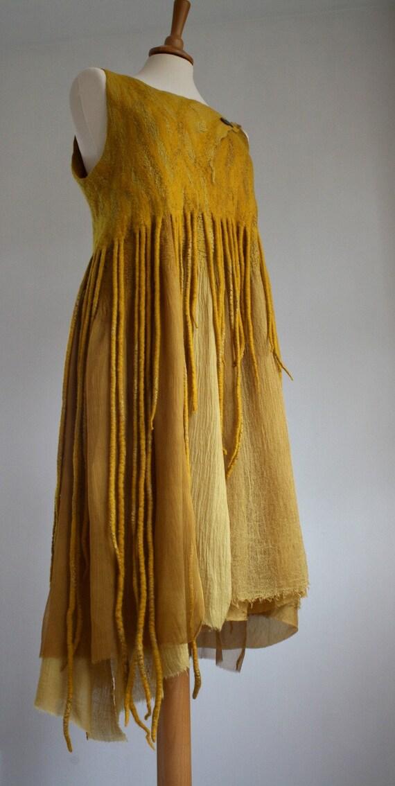 Merino Silk Dress, naturally dyed, OOAK