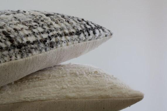 Felted Cushion Cover, Wool Felt Pillow, White, Black Natural Fibre Decorative