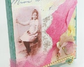 Miss Alice Fabric and Vintage Photo Collage 6 x 6 inches