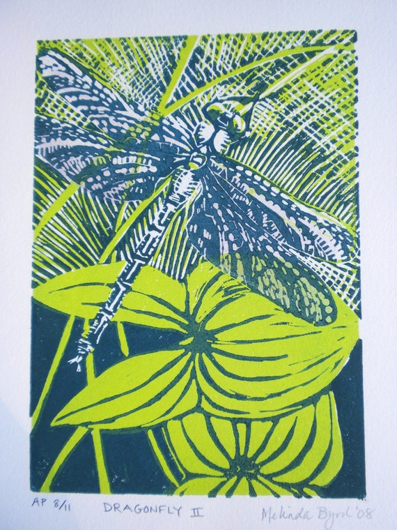 Dragonfly and Arrowleaf a 2-color linocut on quality print paper