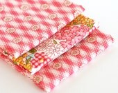 Baby Burps - Set of Three - Reproduction Feedsack Prints in Pink