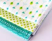 Set of Three Burp Cloths - Aqua, Lime, White