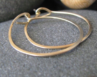 Big 14K Gold Hammered Hoops. Thick Wire. Yellow Recycled Gold. Handmade. Hand Forged. 2.5 inches