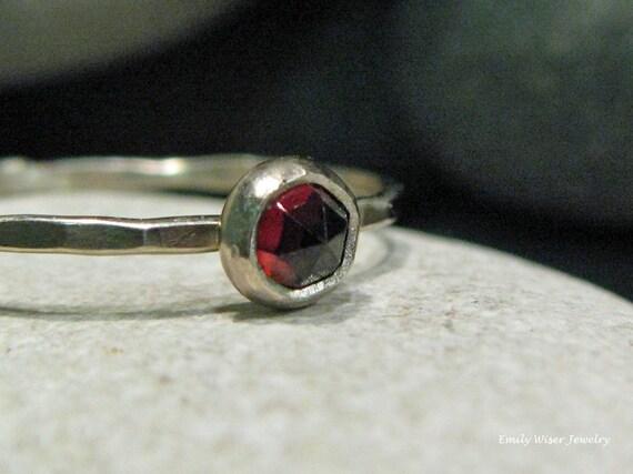 Garnet Engagement Ring. Rose Cut Garnet, White Gold. Alternative Engagement Ring