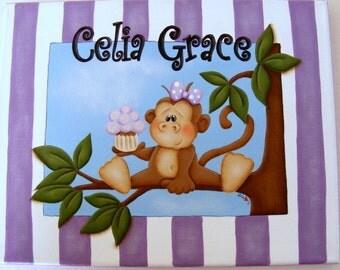 Custom HandPainted Personalized Girlie Girl Monkey Canvas