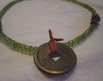 Peridot and Vintage Chinese Coin Necklace