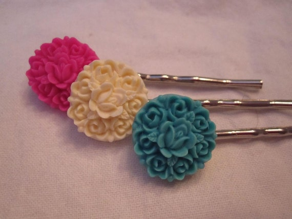 Pink , ivory and blue flower bobby pins