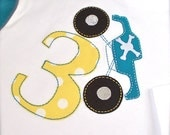 3T, 4T Yellow and Turquoise Pirate Monster truck Birthday tshirt