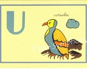 French Flash Card - U for urubu to Frame or for Paper Arts PSS 0521
