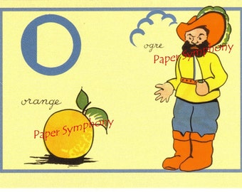 O French Flash Card for Orange and Ogre
