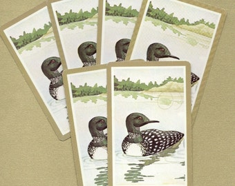 Loon with Brown Trim Vintage Playing Cards for ATCs, Collage, Scrapbooking, Paper Arts, Assemblage and MORE