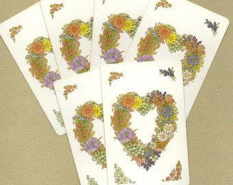 Vintage Mixed Floral Heart Playing Cards for ATCs, Collage, Scrapbooking, Paper Arts, Assemblage and MORE
