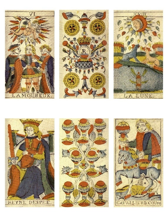 Instant Download Digital 1804 Tarot Cards Collage Sheet For