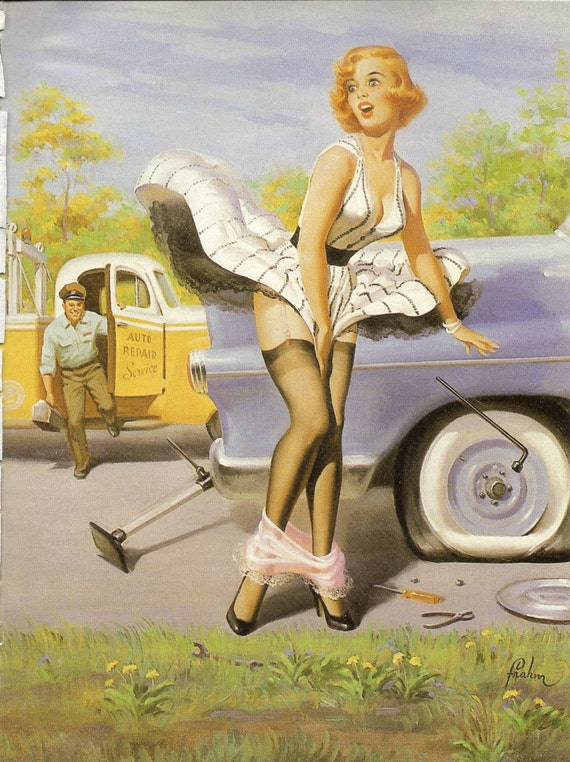 American pin up girl changing her flat tire to frame or for paper arts