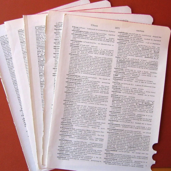Vintage Medical Dictionary Pages - Assorted Set of 5