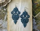 lace earrings -LEILA- deep teal