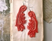 lace earrings -CALLISTA-  tangerine