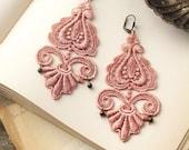 lace earrings -LEILA- nude pink
