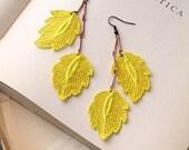 lace earrings -KIRIN- bright lemon