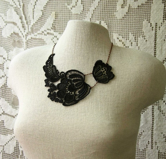 genevieve lace necklace (black)