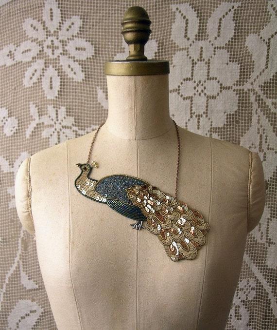 la paon  sequined necklace