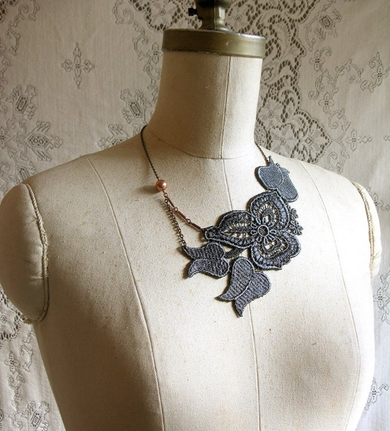 lace necklace la tulipe charcoal by whiteowl on etsy