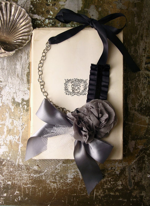 statement necklace - grey ribbon and floral with tulle necklace  - fleur de sel gris