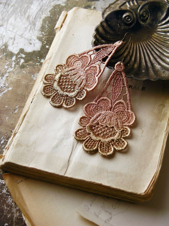 lace earrings - SOFIA-  ombre bronze