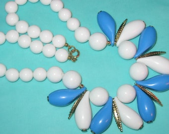 Last Call.....Vintage MOD Bright Blue and White Plastic Chunky Teardrop Beaded Necklace