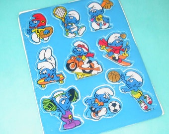 Vintage 80s Smurfs Playing Sports Puffy Stickers Sticker Sheet