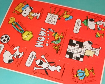 Vintage 80s Peanuts Snoopy and Woodstock Sticker Sheet LOT
