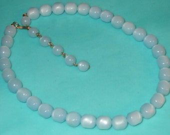 Vintage Light Blue Moonglow Lucite Squared Bead Necklace
