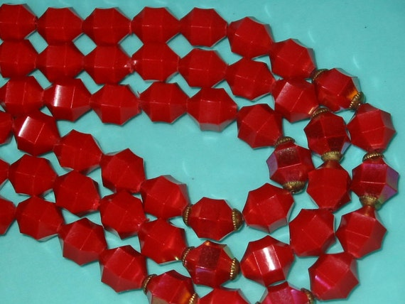 SALE....Vintage Red Triple Strand Plastic Faceted Irridescent Bead Necklace
