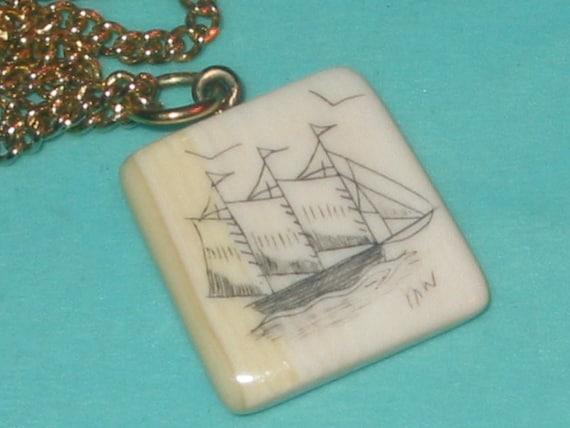 SALE....Vintage Ivory Bone Ship Scrimshaw Pendant Necklace