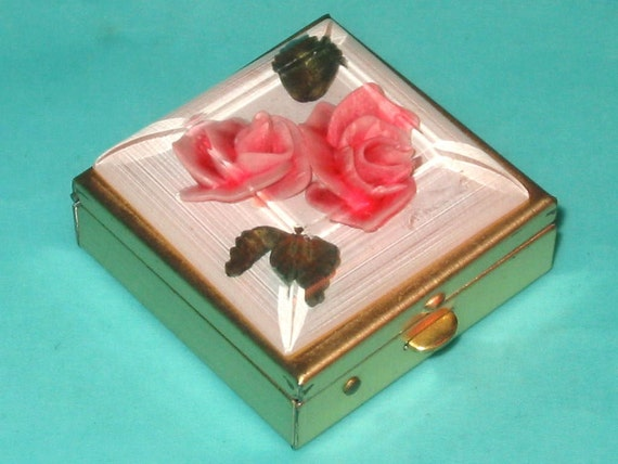Vintage 50s Clear Lucite Pink Rose Pill Box by Bircraft